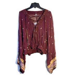 Free People Beaded Embroidered Burgundy Top